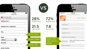 Macys vs Home Depot form on mobile